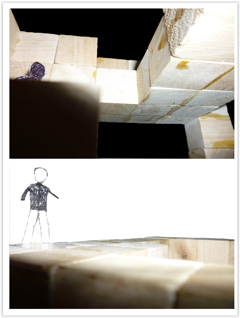 Wood Model with Scale Figures from different angles 4
