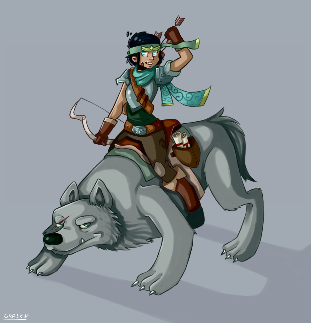 a girl with her wolf