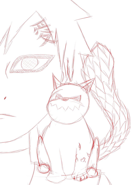 gaara and tiny shukaku WIP