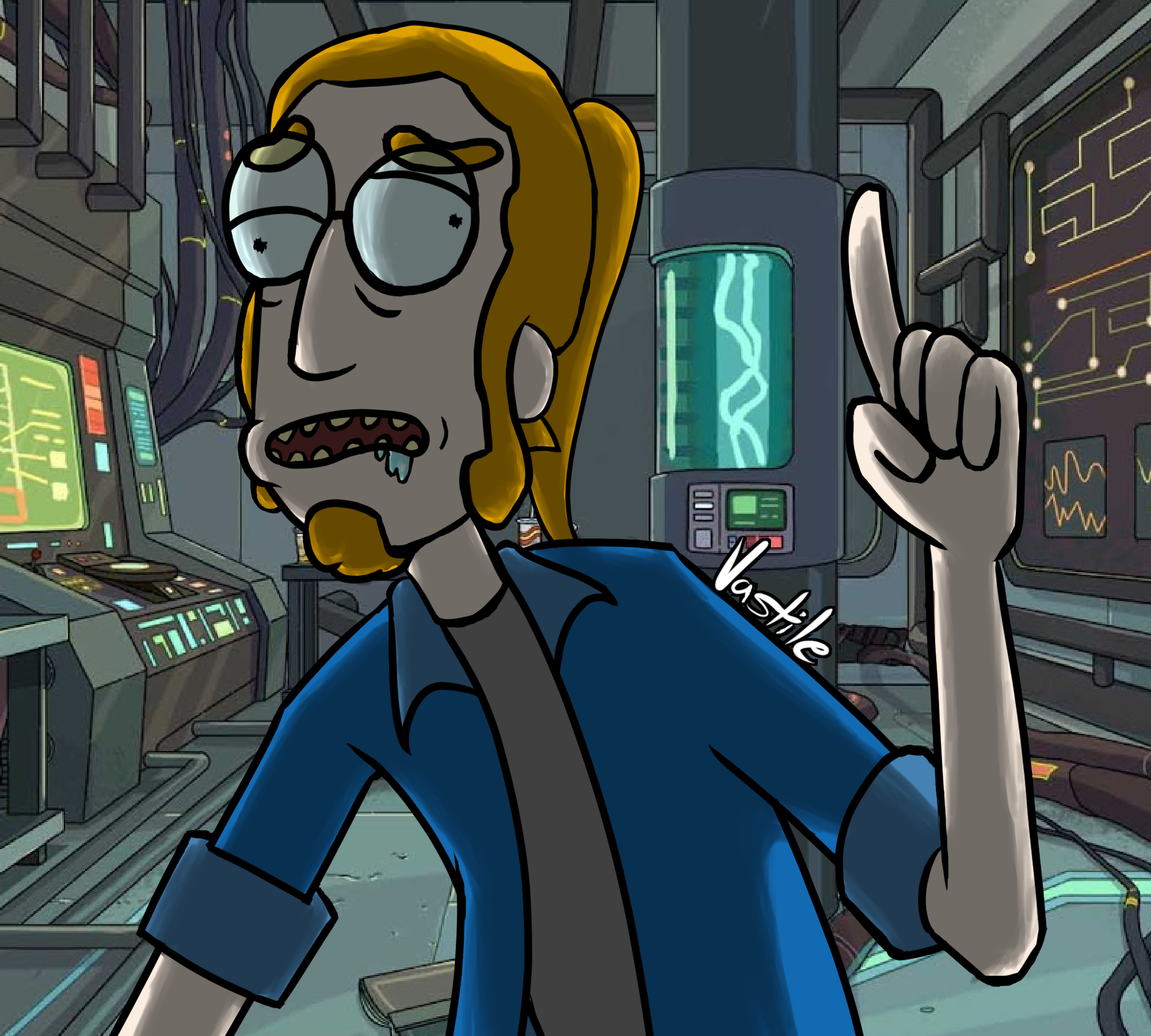 Self-Portrait in Rick and Morty Style
