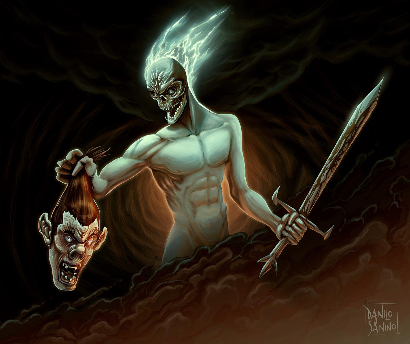 Battle between demon and ogre