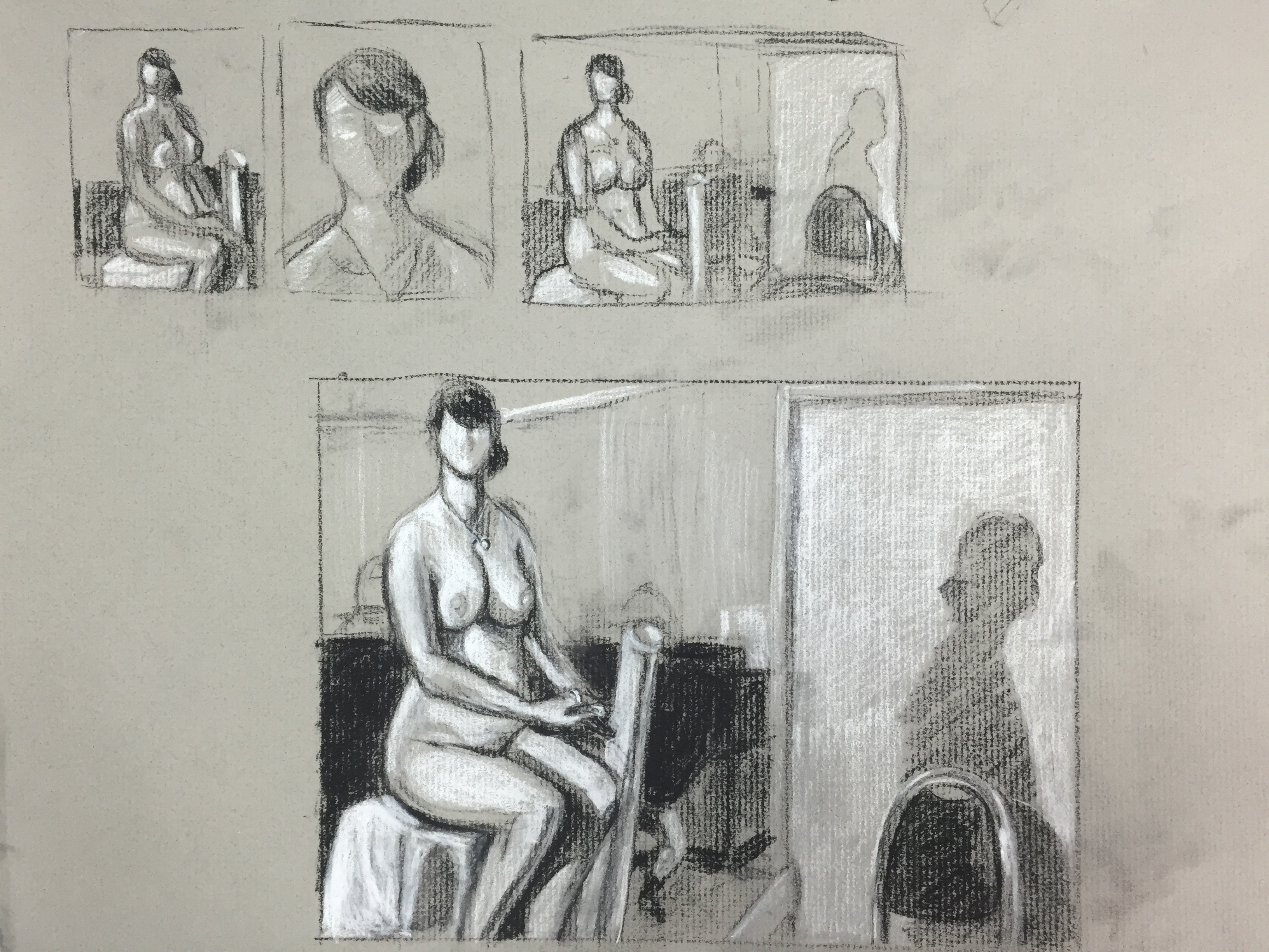 Charcoal Life Drawing Sketches