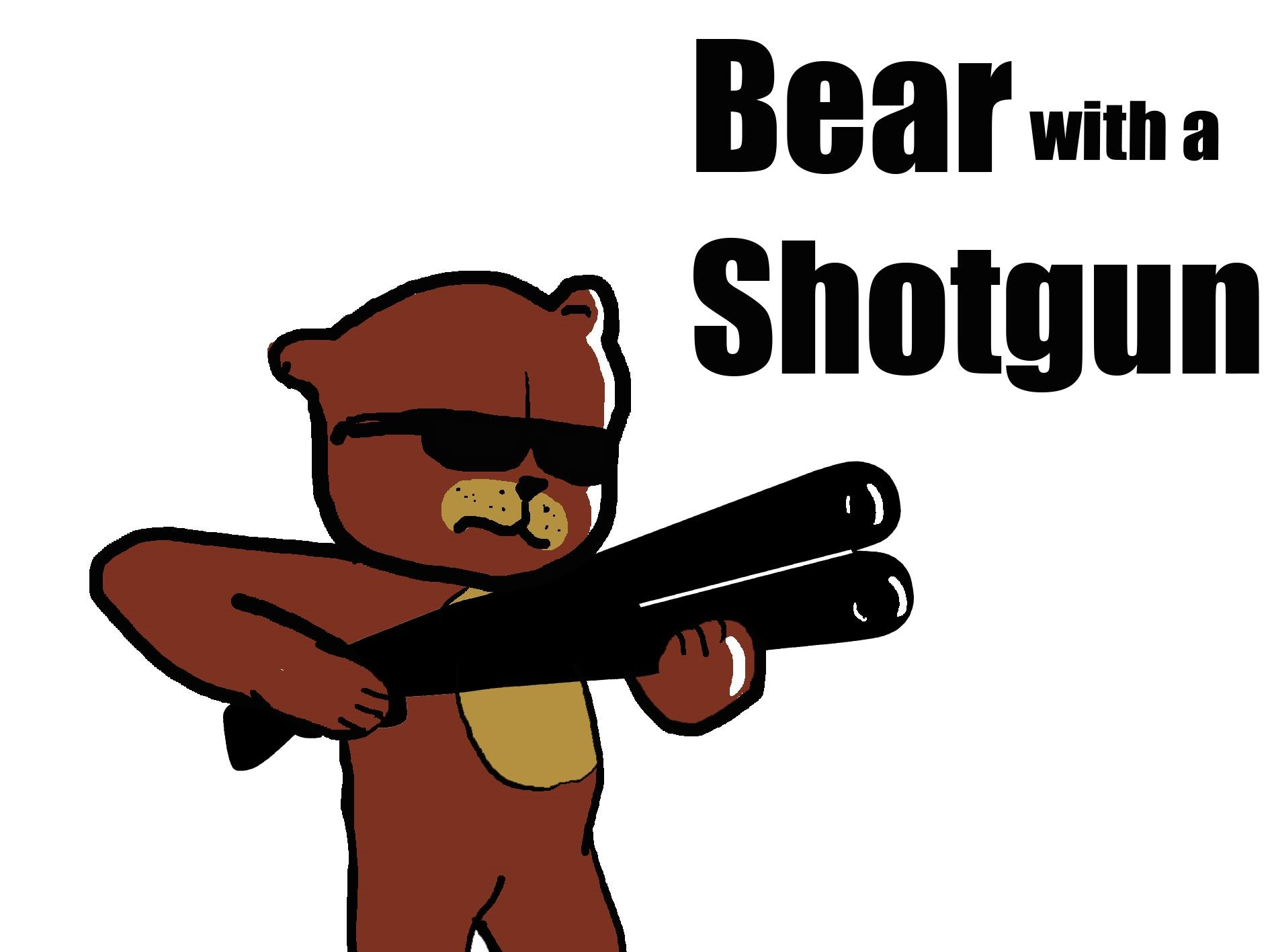 Bear with a shotgun