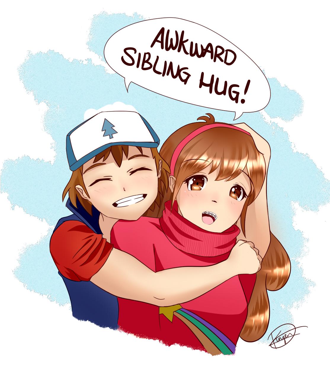 Awkward Sibling hug! - Gravity Falls