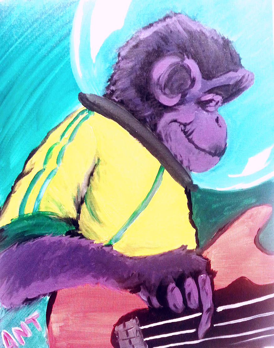 Space Monkey plays bass painting