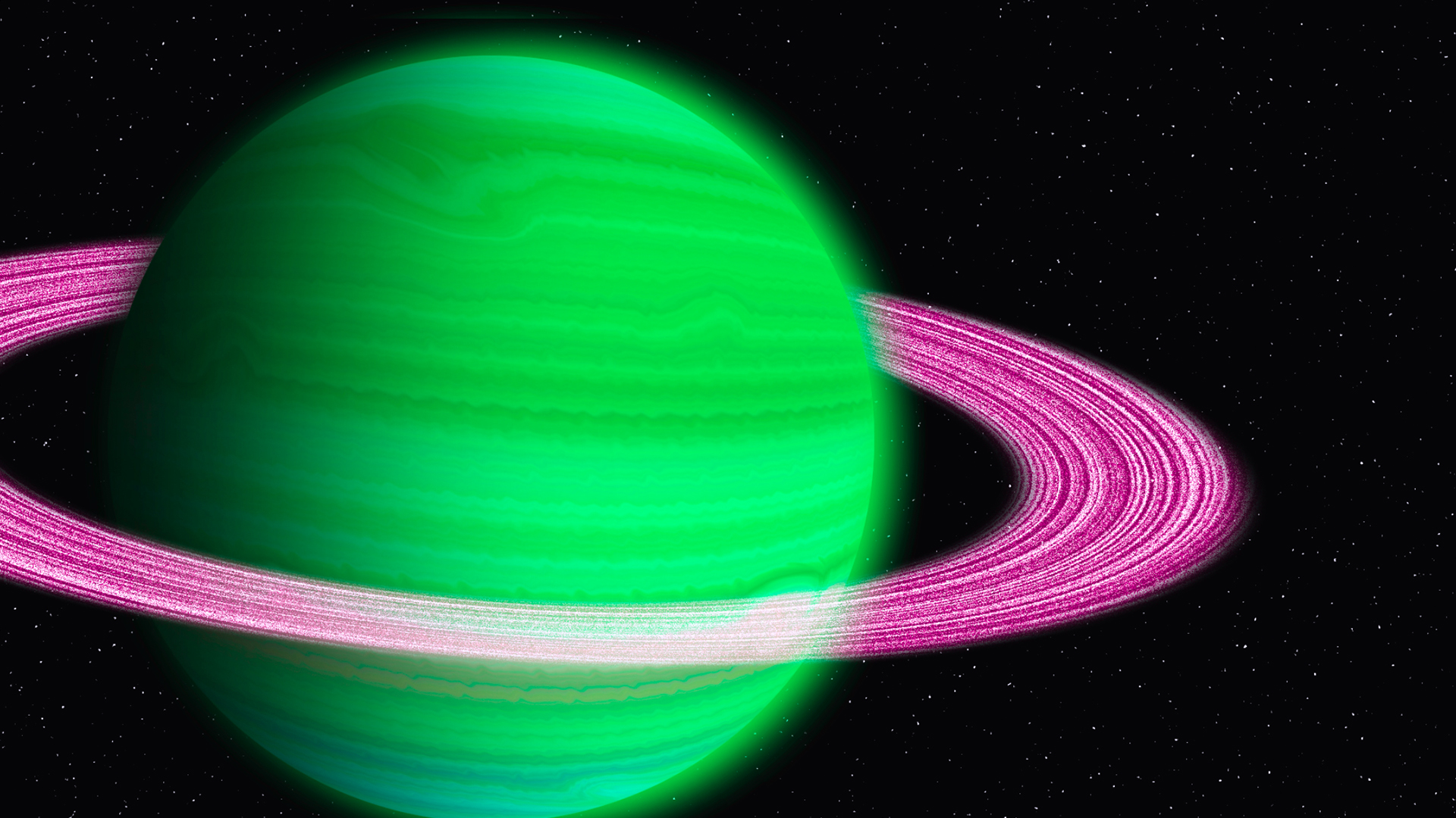 Green Planet with Pink Rings