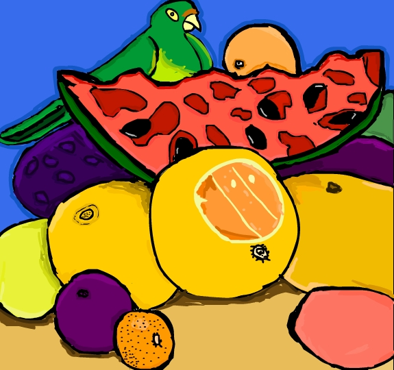 Parrot and Fruits