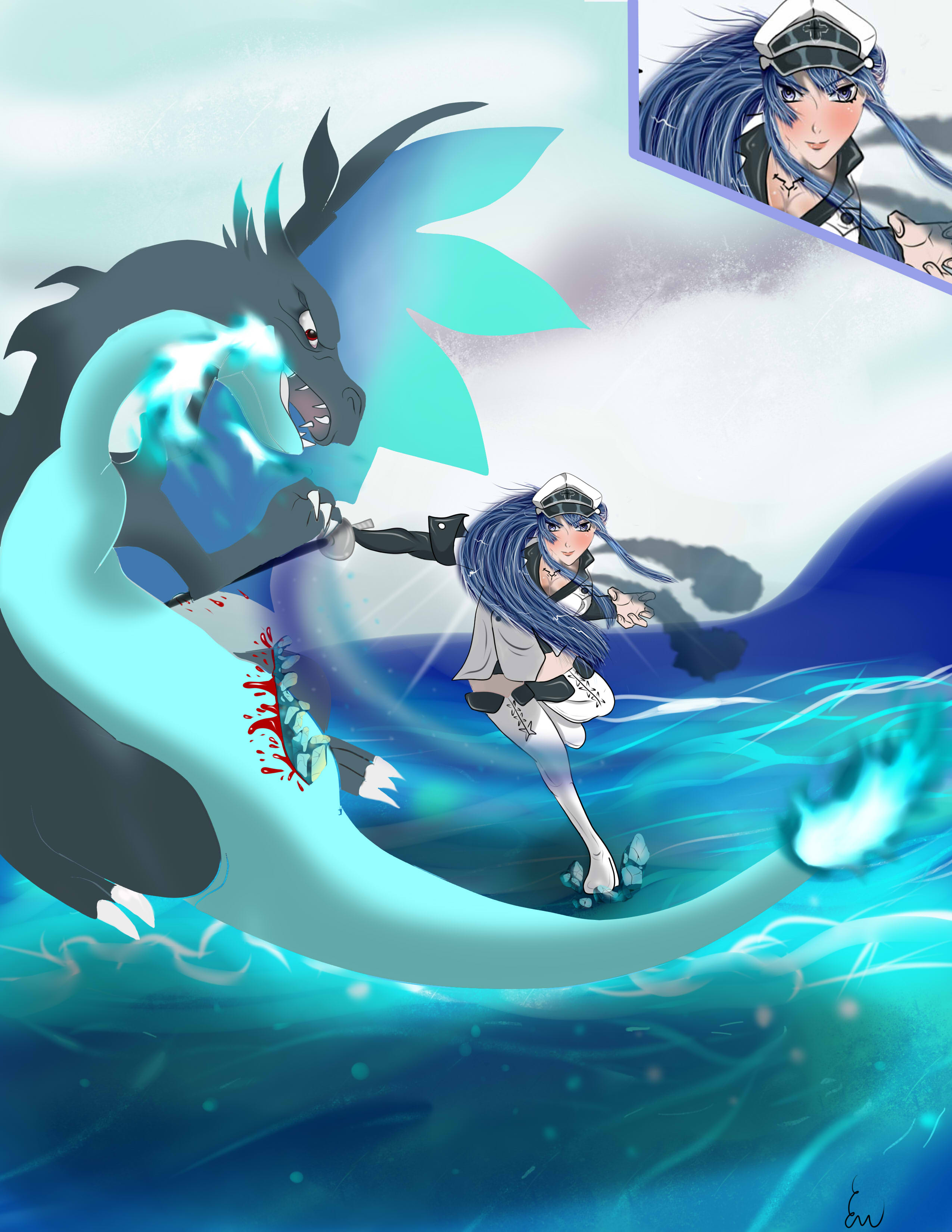 crossover fight between charizard x and esdeath