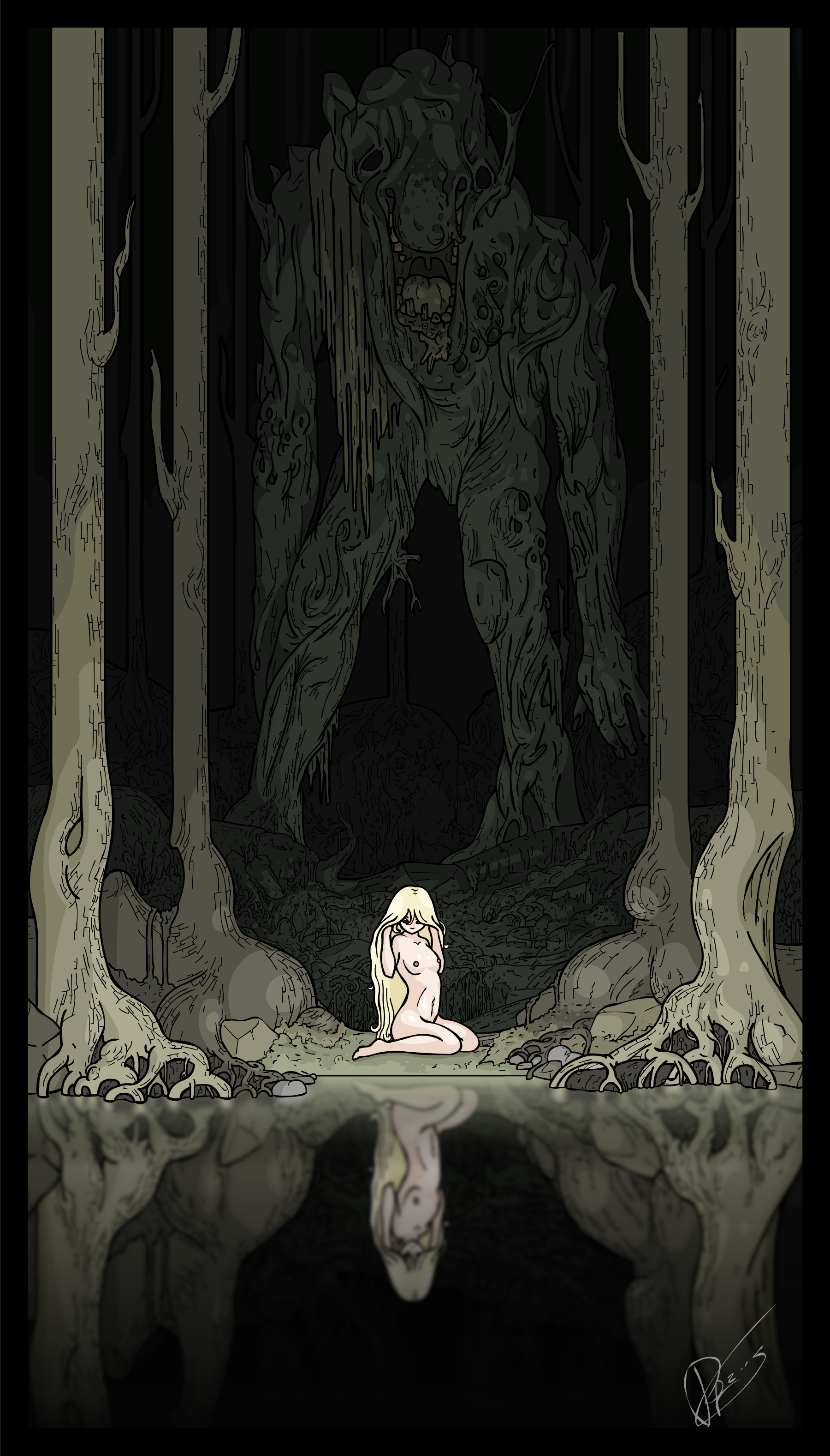 girl and troll by swamp