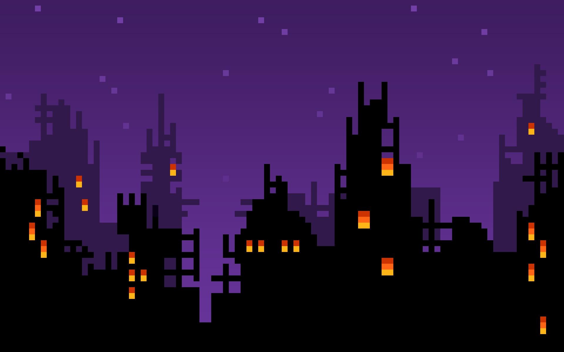 8-bit world at night