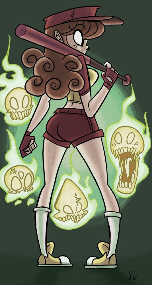 Lady and a buncha' skulls