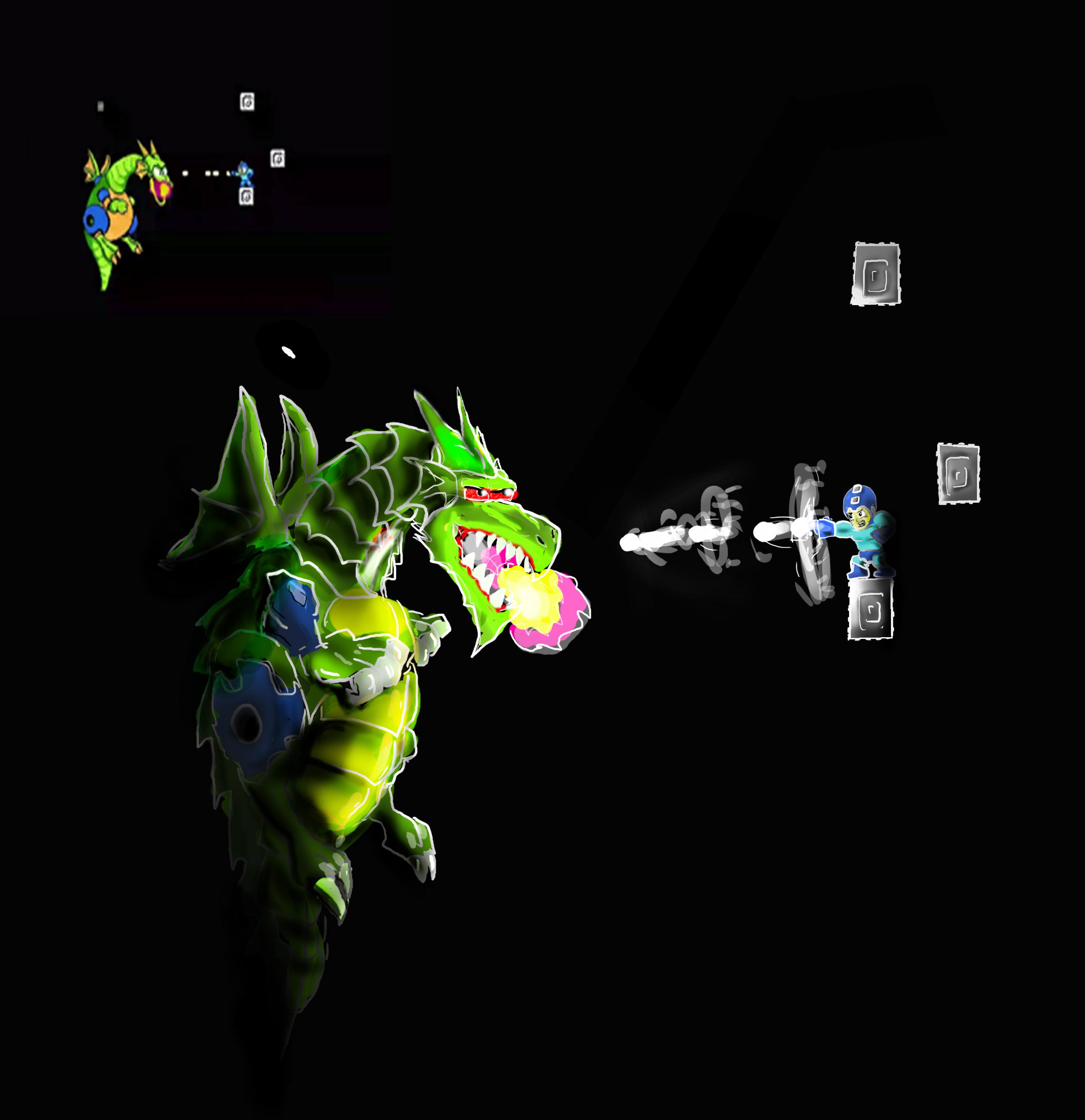 Mega Man VS Mecha Dragon from Megaman 2