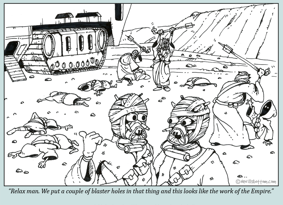 Sand people frame the Empire
