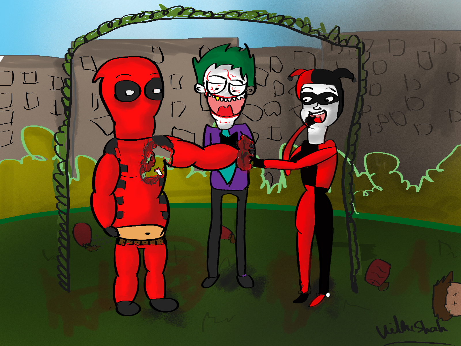 Deadbeat Deadpool and Harley Quinn