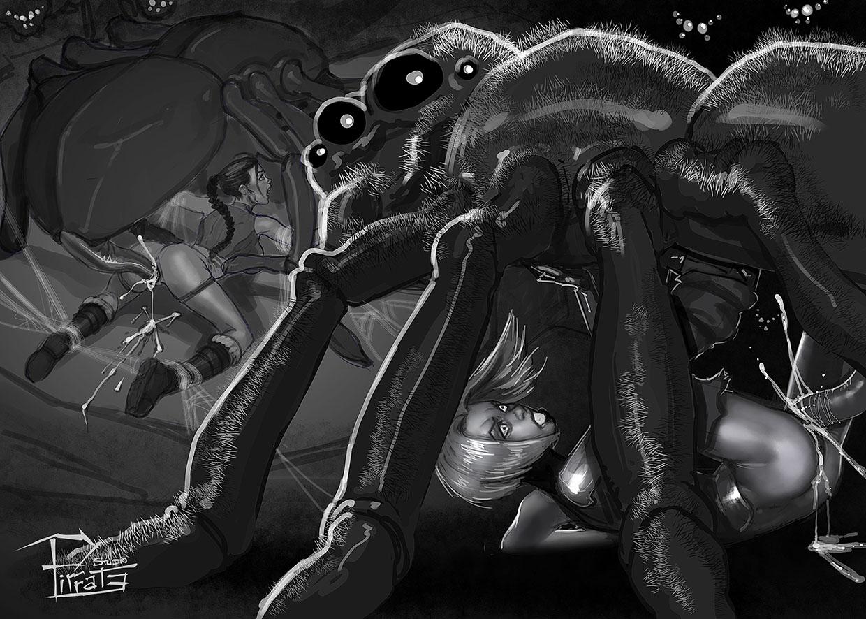 Lara and Maya spiderbanged - patreon colored picture