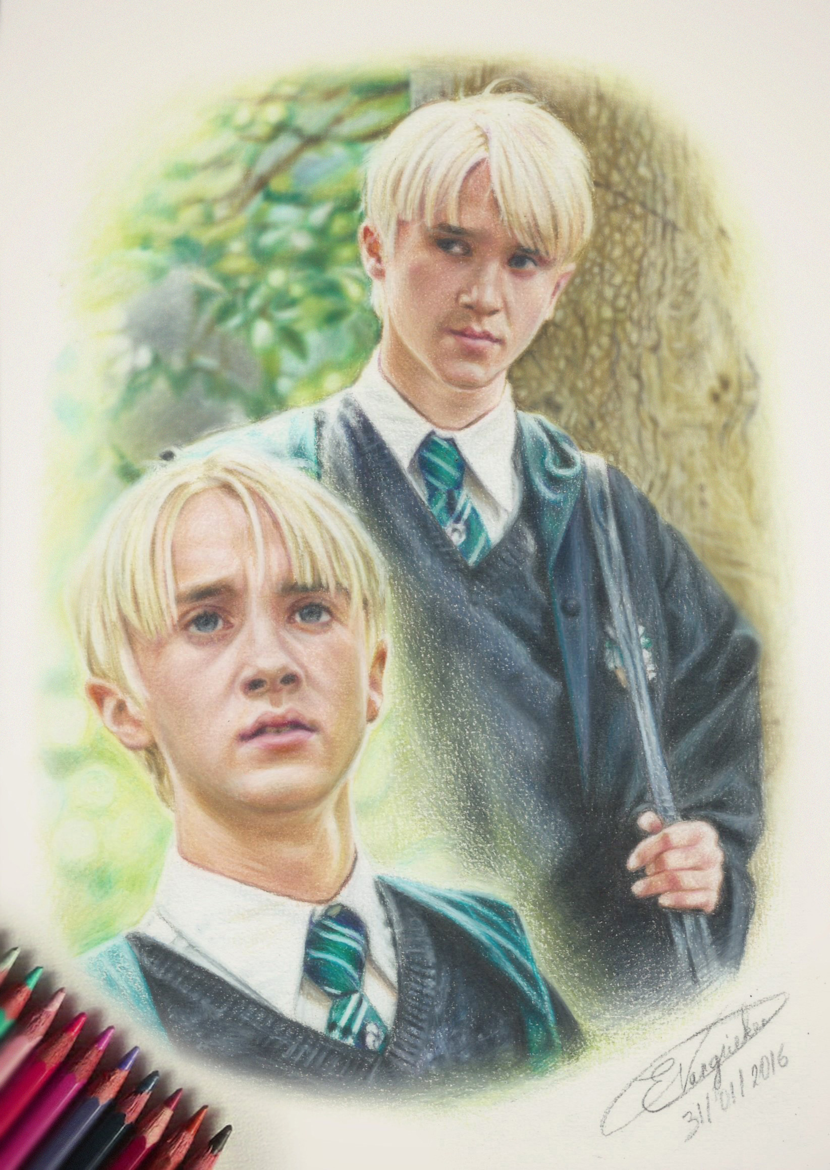 Draco Malfoy Tom Felton Drawing By Omegalomaniacx On Newgrounds