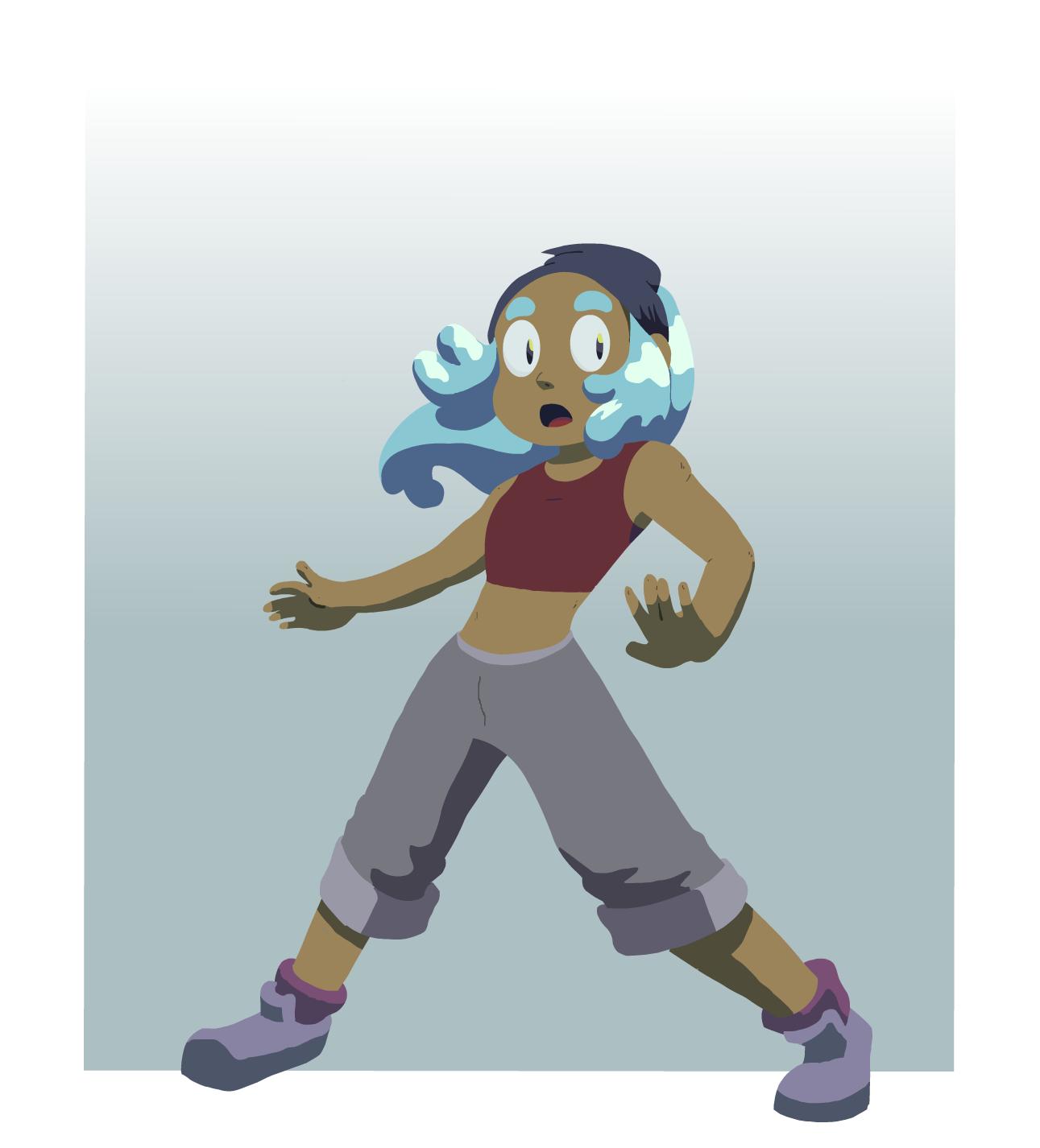 blue haired girl