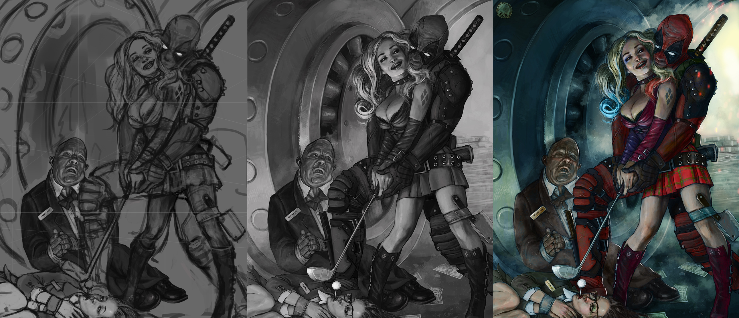 Harley and Deadpool work process