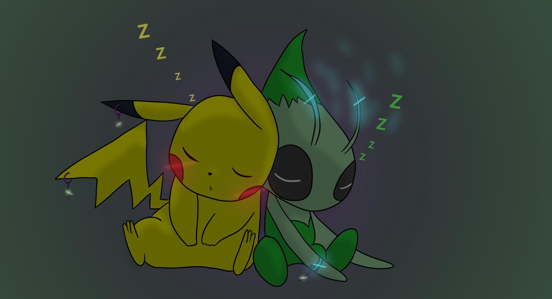 pikachu and celebi sleeping