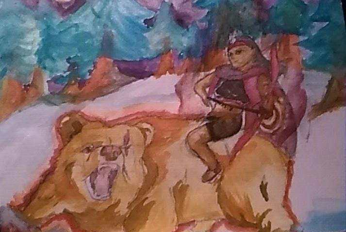 summer native american woman riding bear