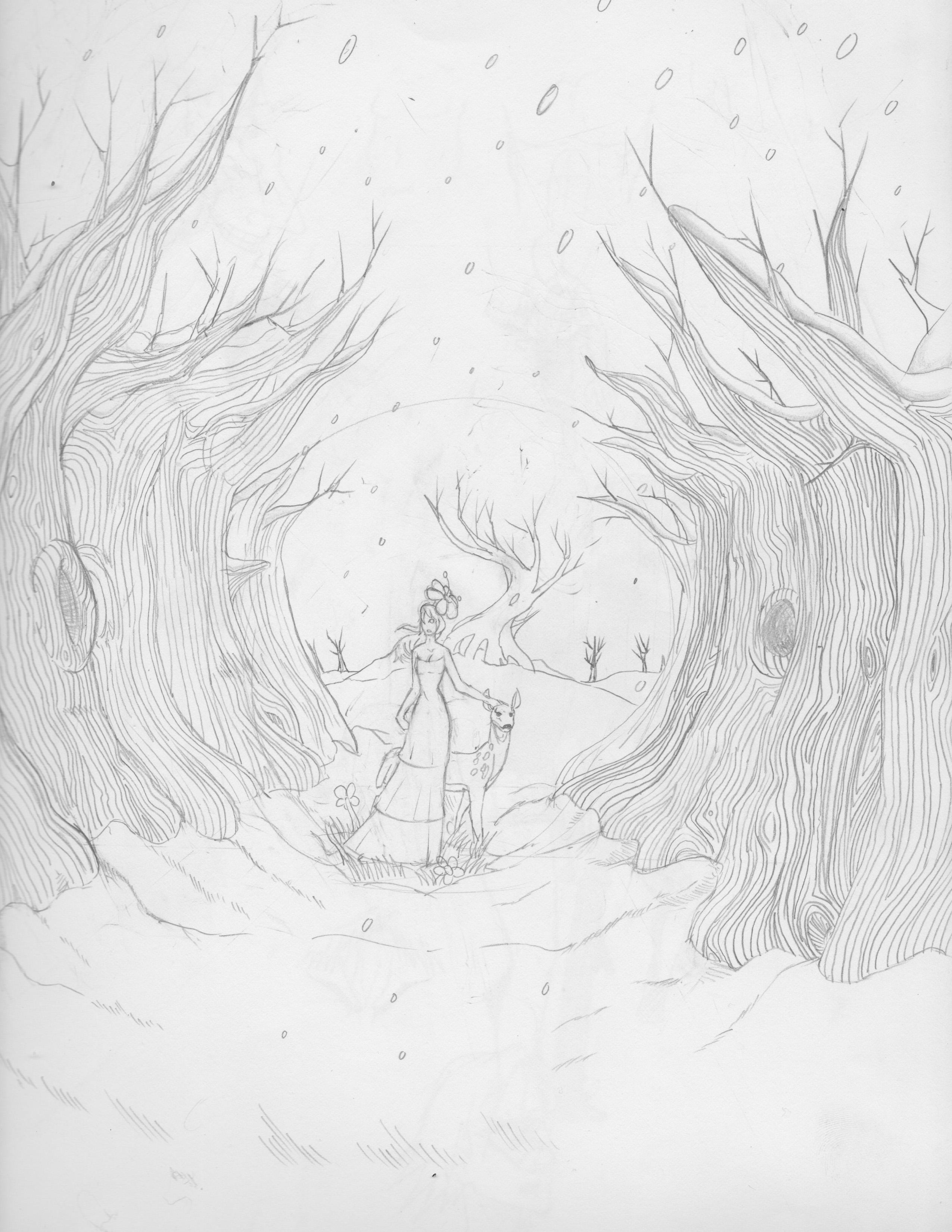 Springing Winter - Pre-Sketch/ Drawing