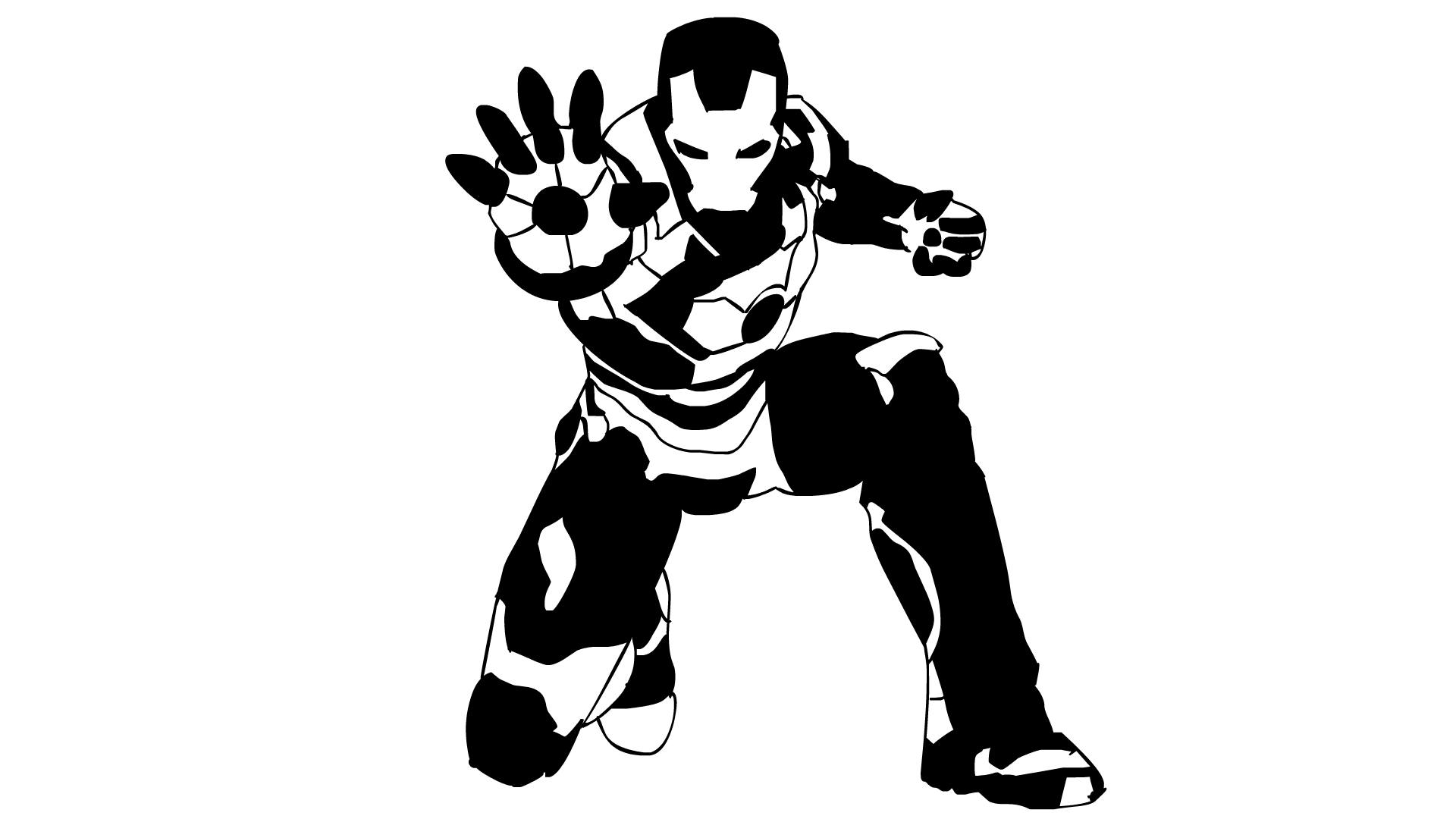 Black and white ironman