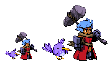 birb and girl with hammer