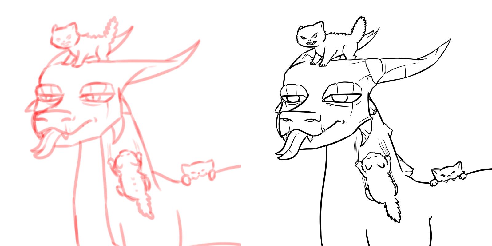 Dragons vs Kittens wip process