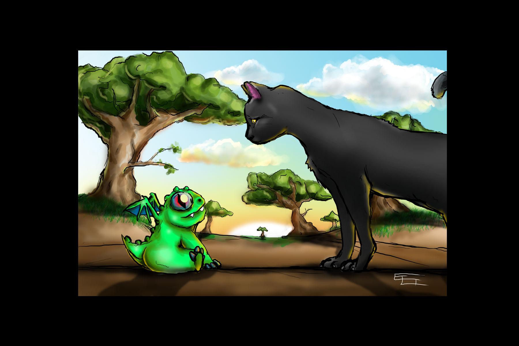 Cat vs Baby Dragon