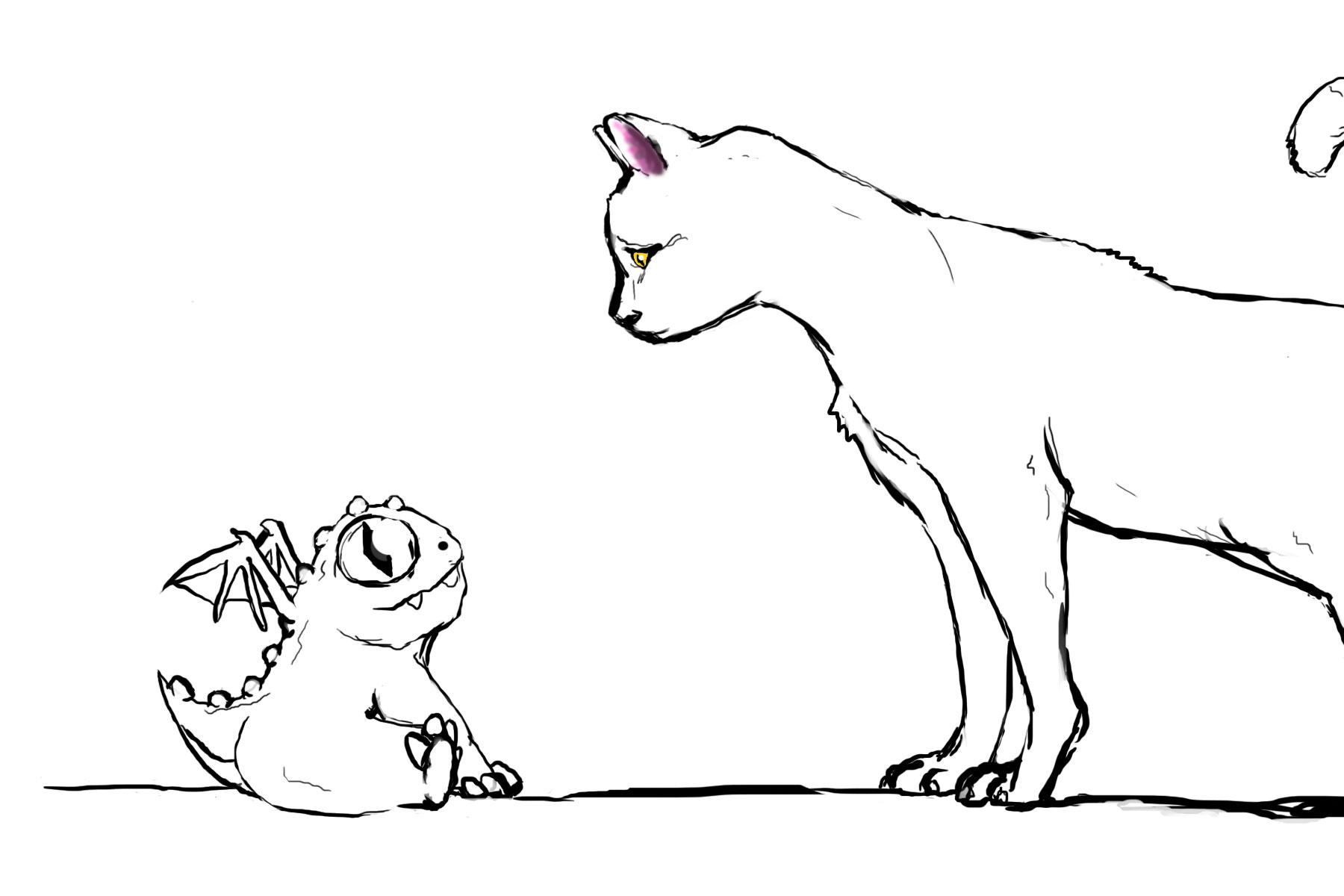 Cat vs Baby Dragon work in progress by EliasAdams on