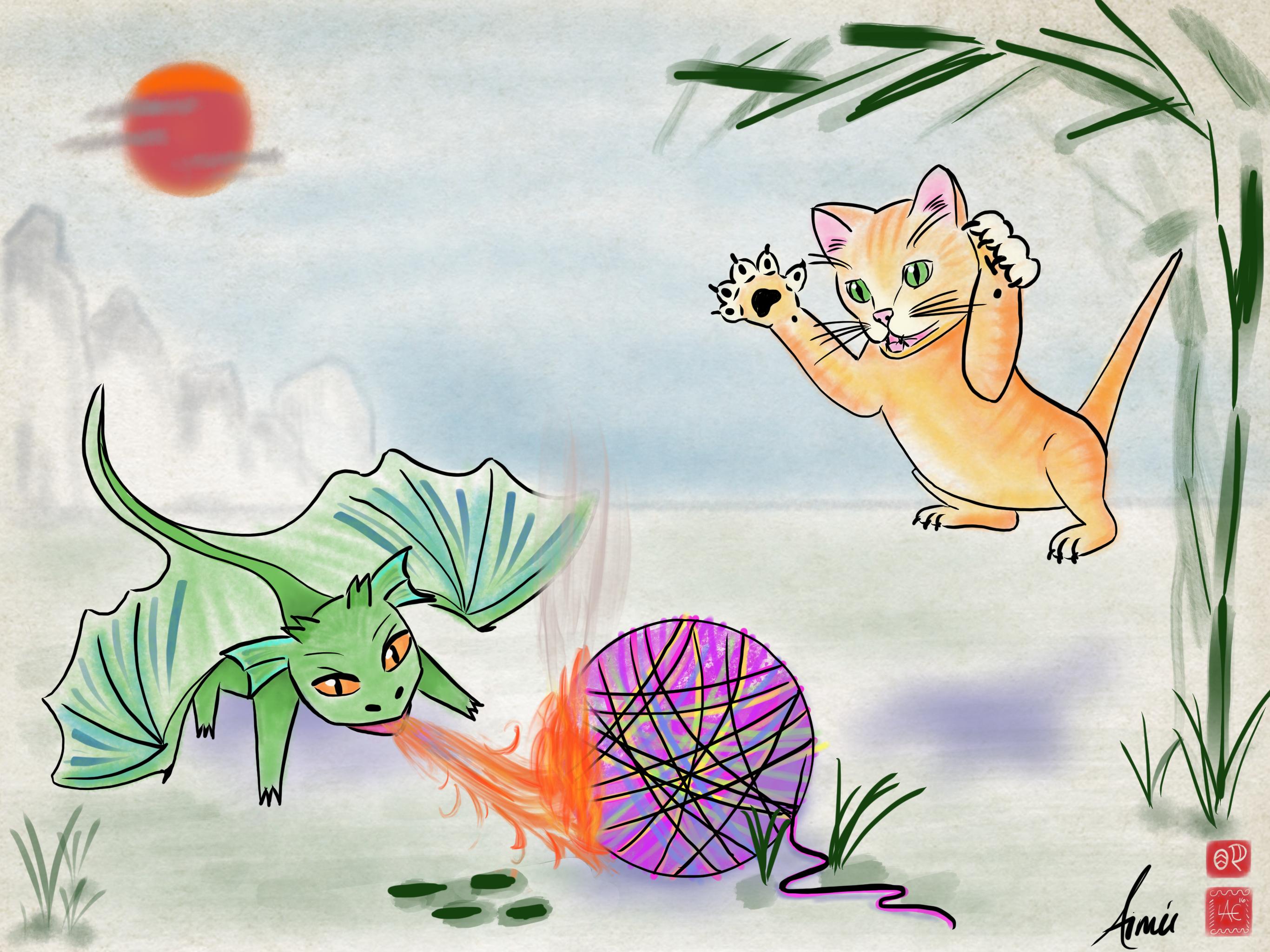 Dragons Vs Kittens Art Challenge by Jazza
