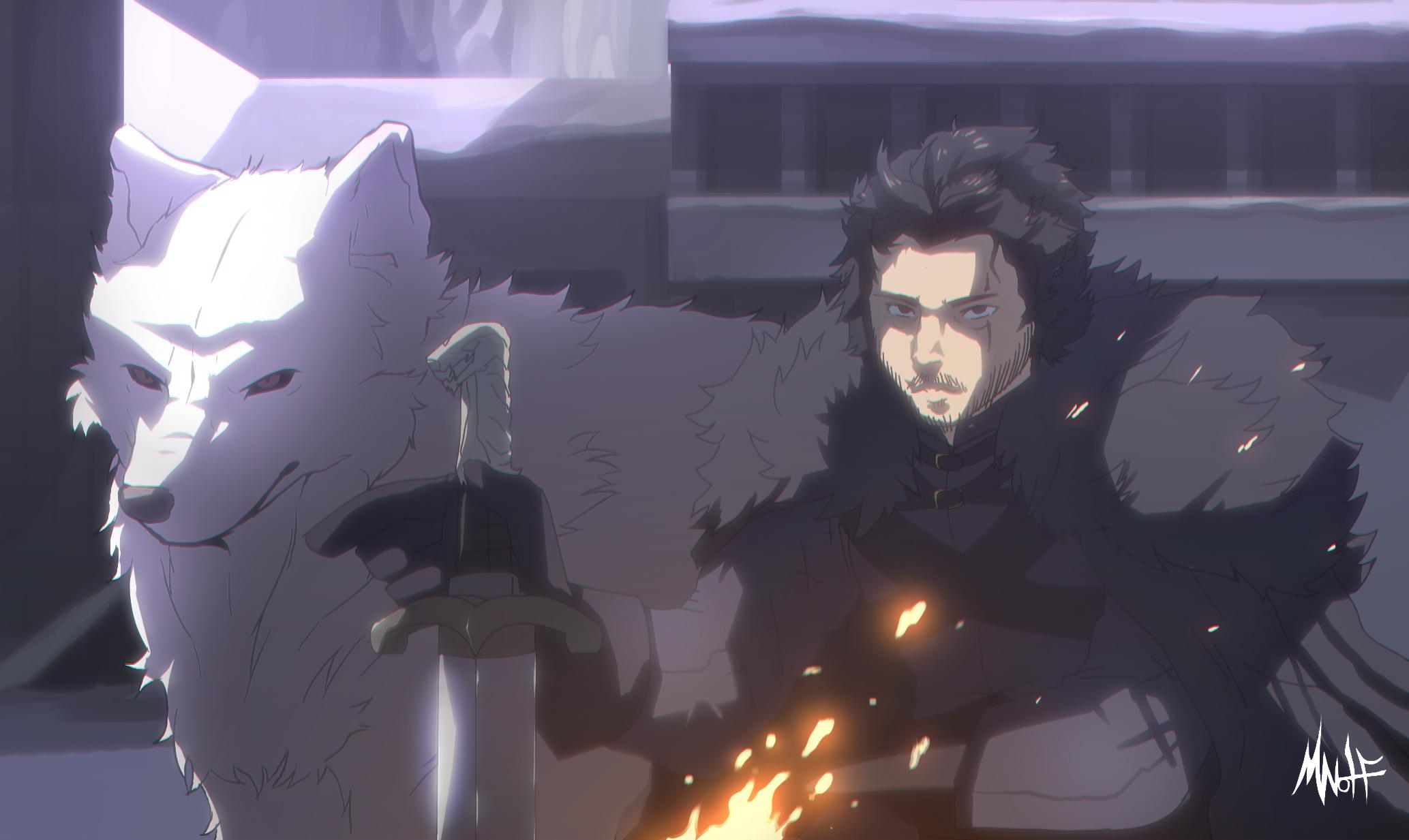 Jon Snow And Ghost By Mizu Wolf On Newgrounds
