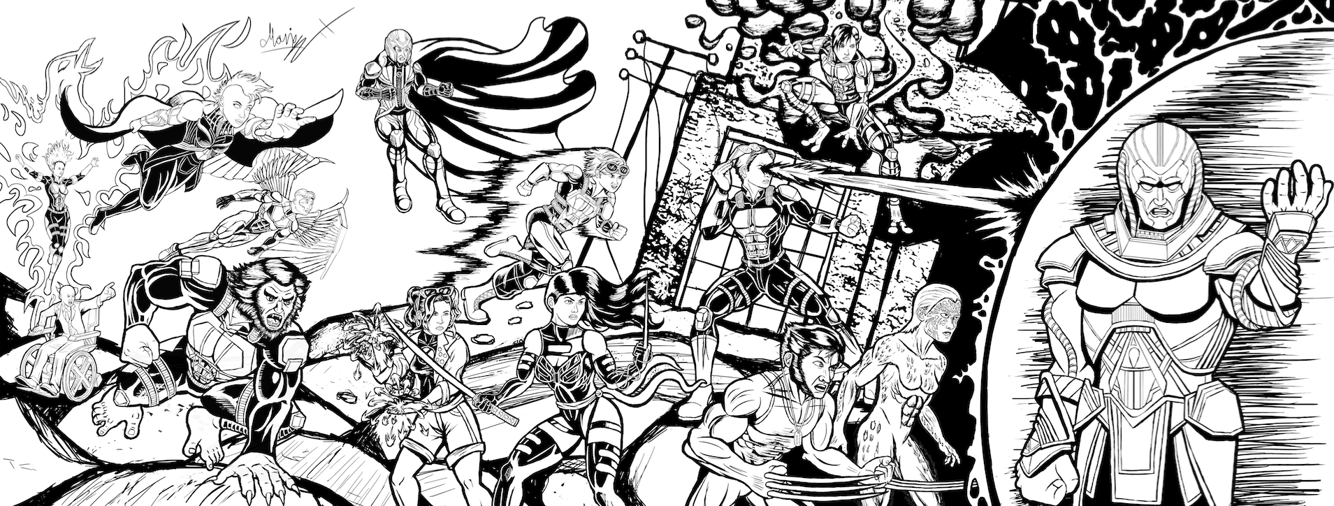 Inked X-Men: Apocalypse Jim lee 90's cover Homage