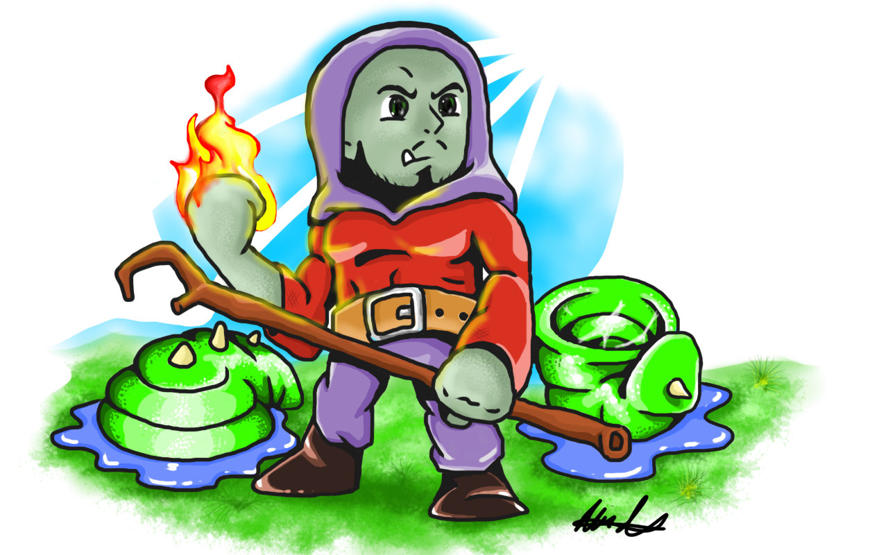 Orchish Wizard on fire in a clean green park #fire #wizard #illustration #art #design #mixnmatch