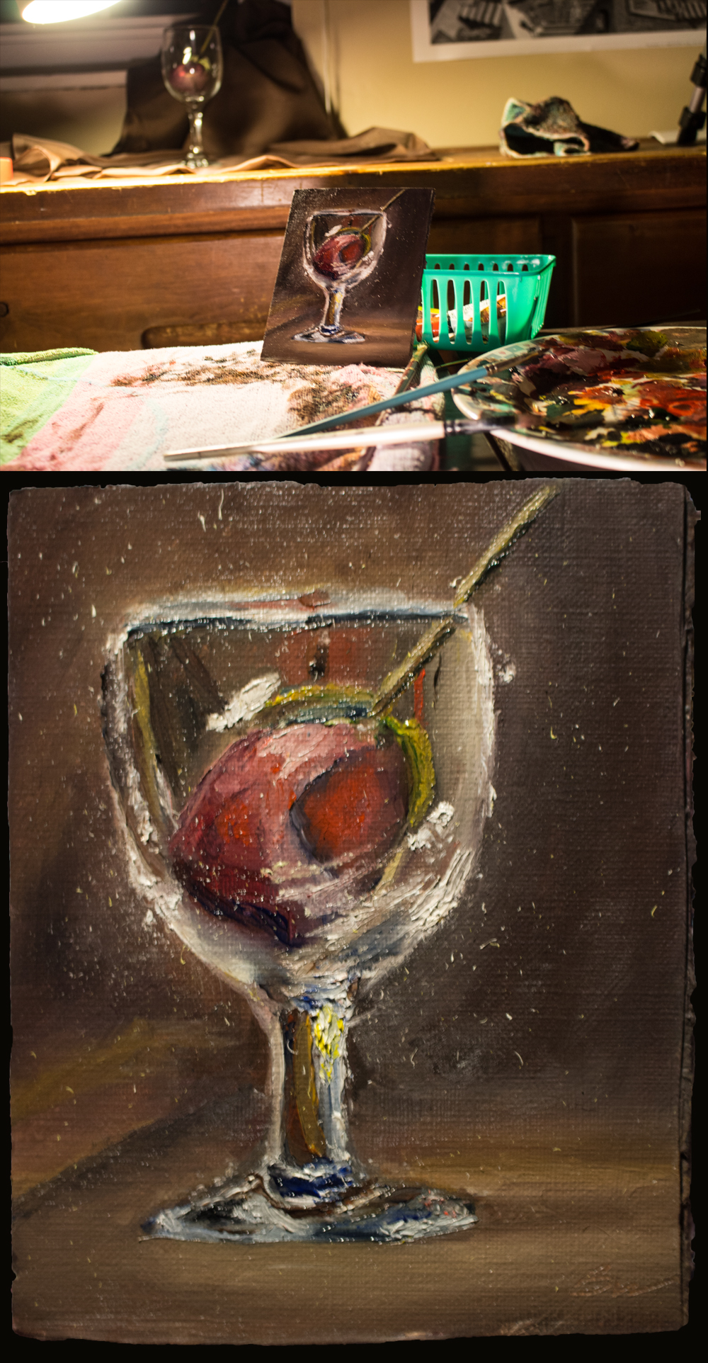 Oil Painting of Rose and Glass