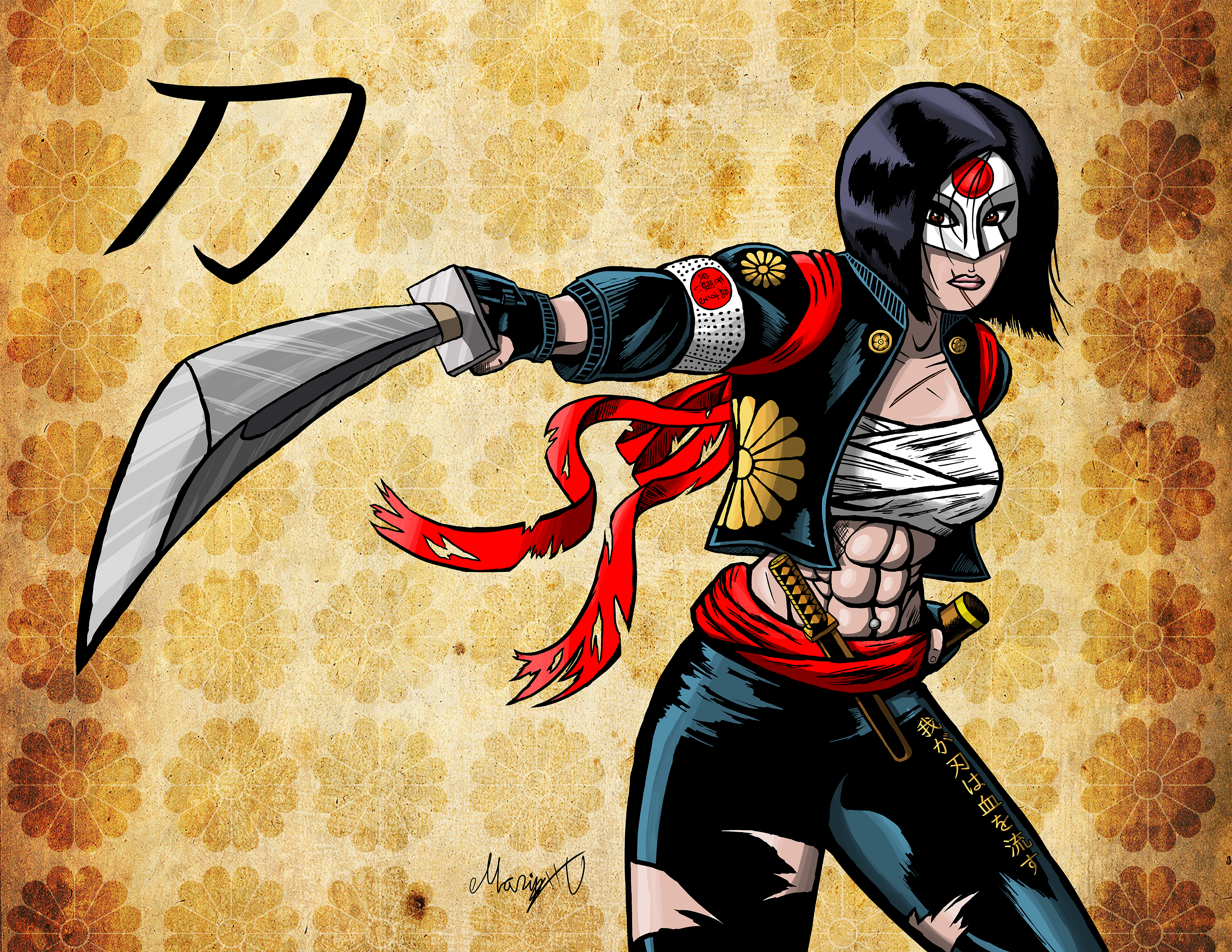Colored version drawing of DC Comics' Katana from the Suicide Squad movie. I have a rule that all Fe