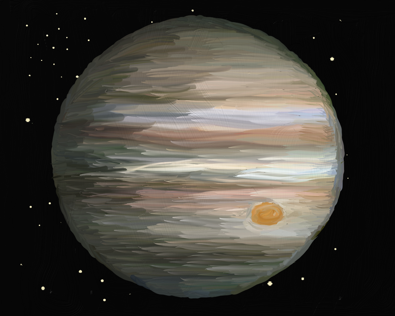Jupiter, an oil painting
