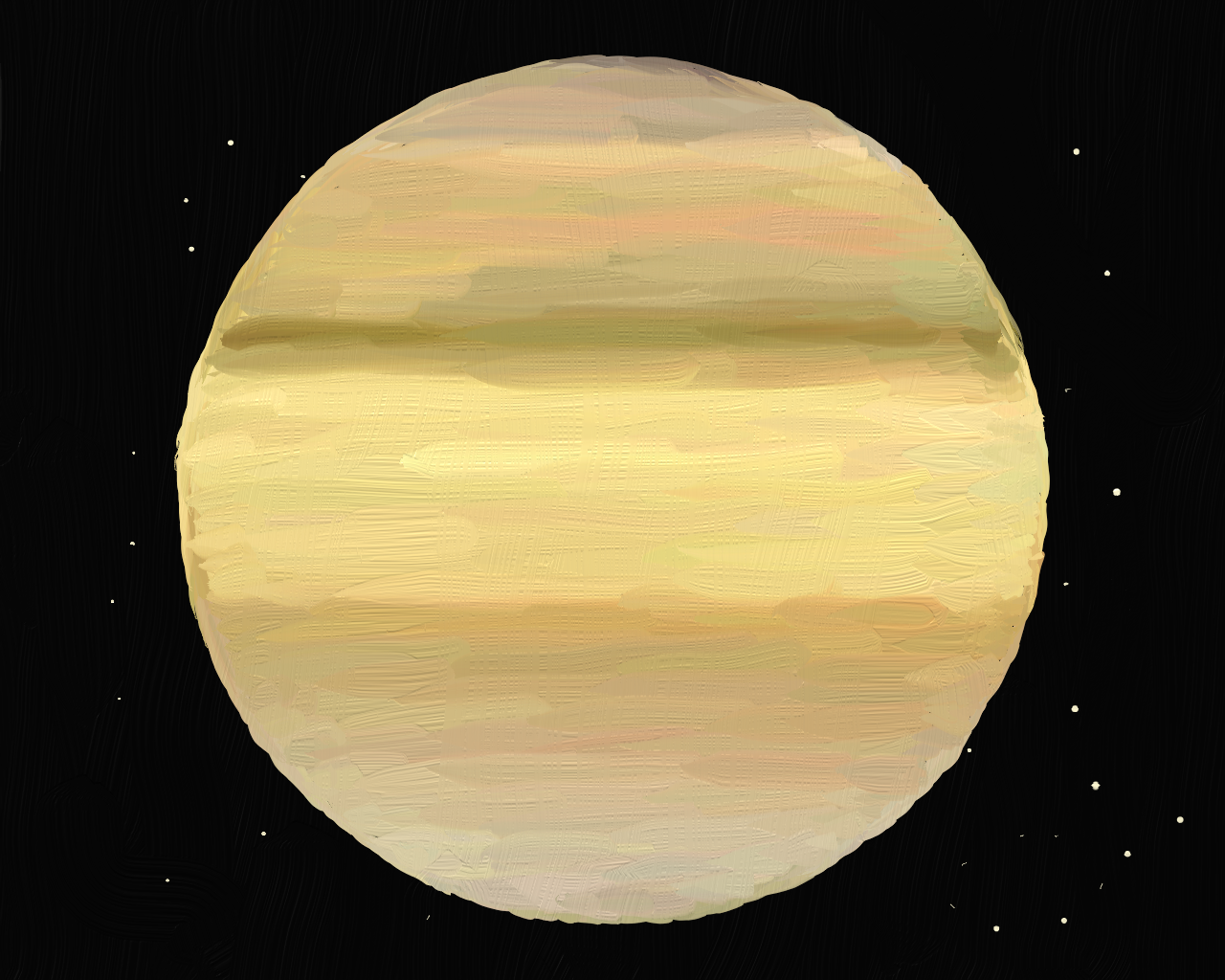 Saturn, an oil painting