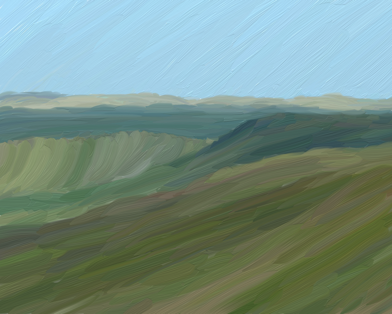 Steppes of Russia, an oil painting