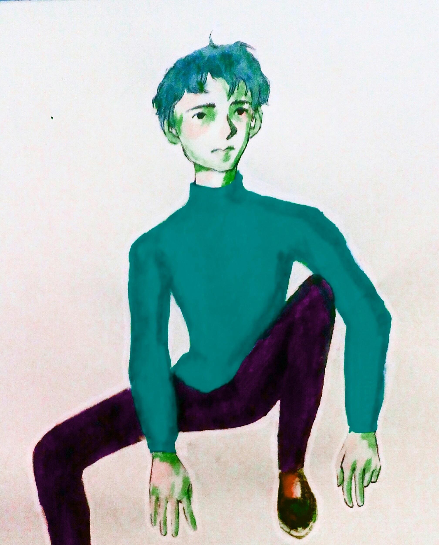 blue weird boy