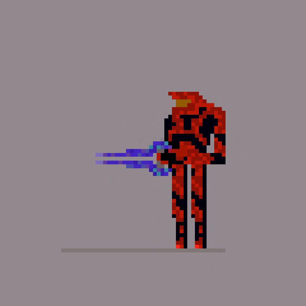 Pixel Art: Red Halo Spartan
