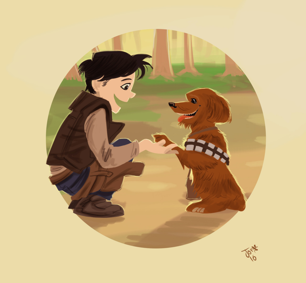 Han Solo kid and Chewie dog