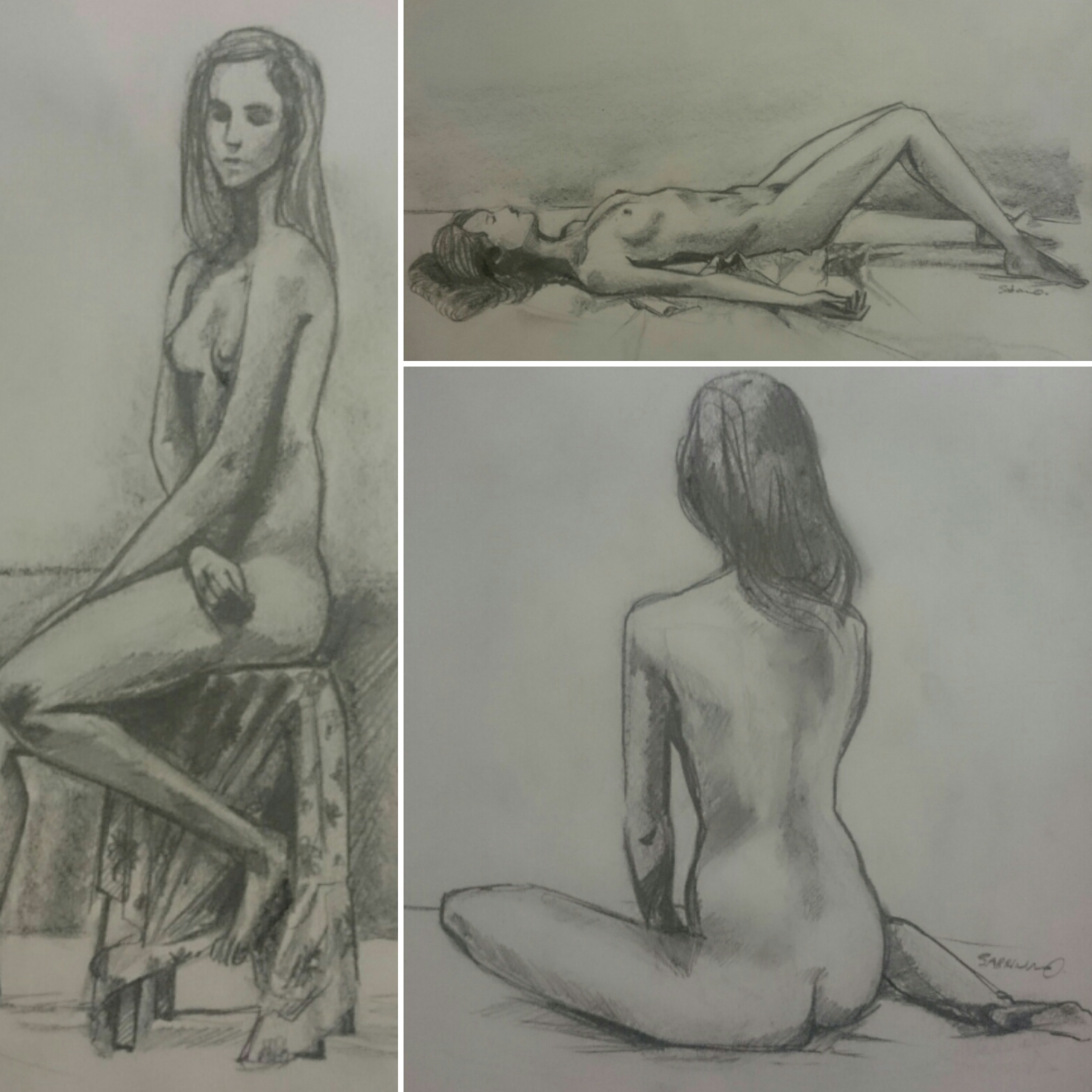 Female Nude Figure Study in Carbon and Graphite