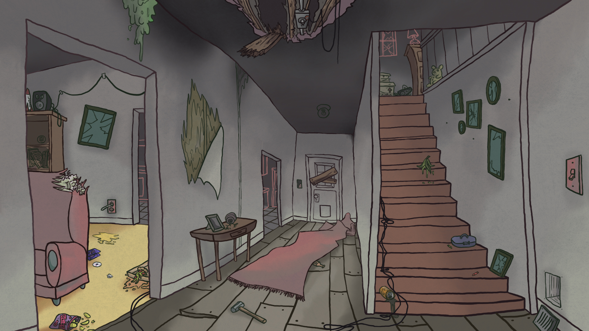 haunted house concept art animation background by