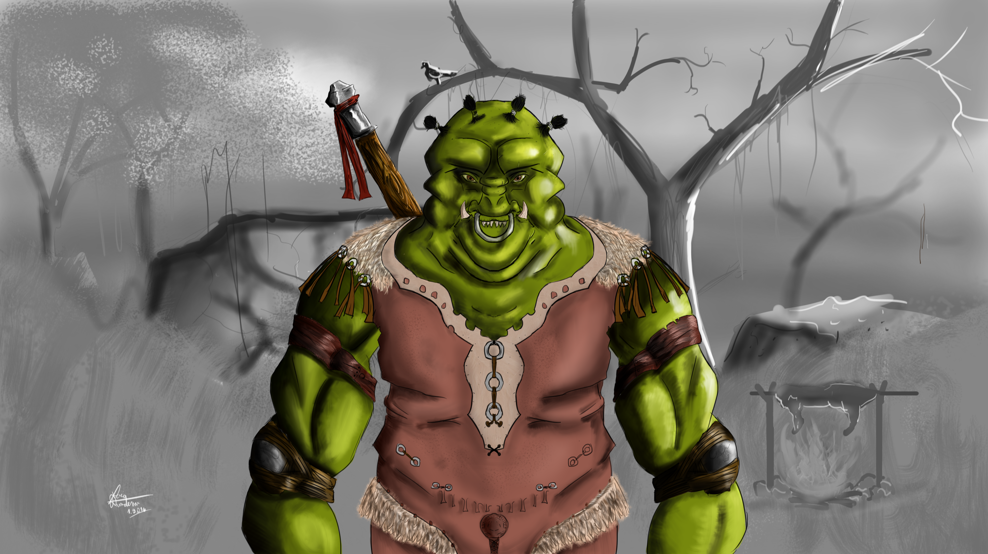 Orc camping in the woods