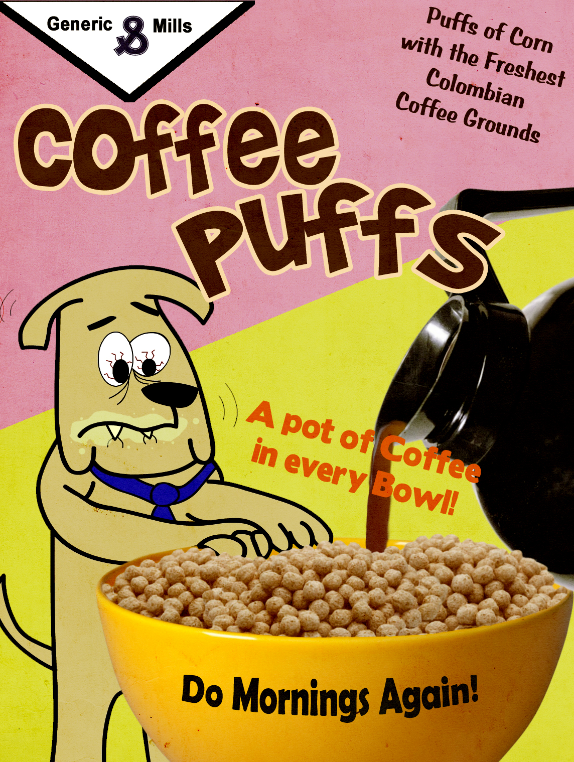 Coffee Puffs Cereal Box