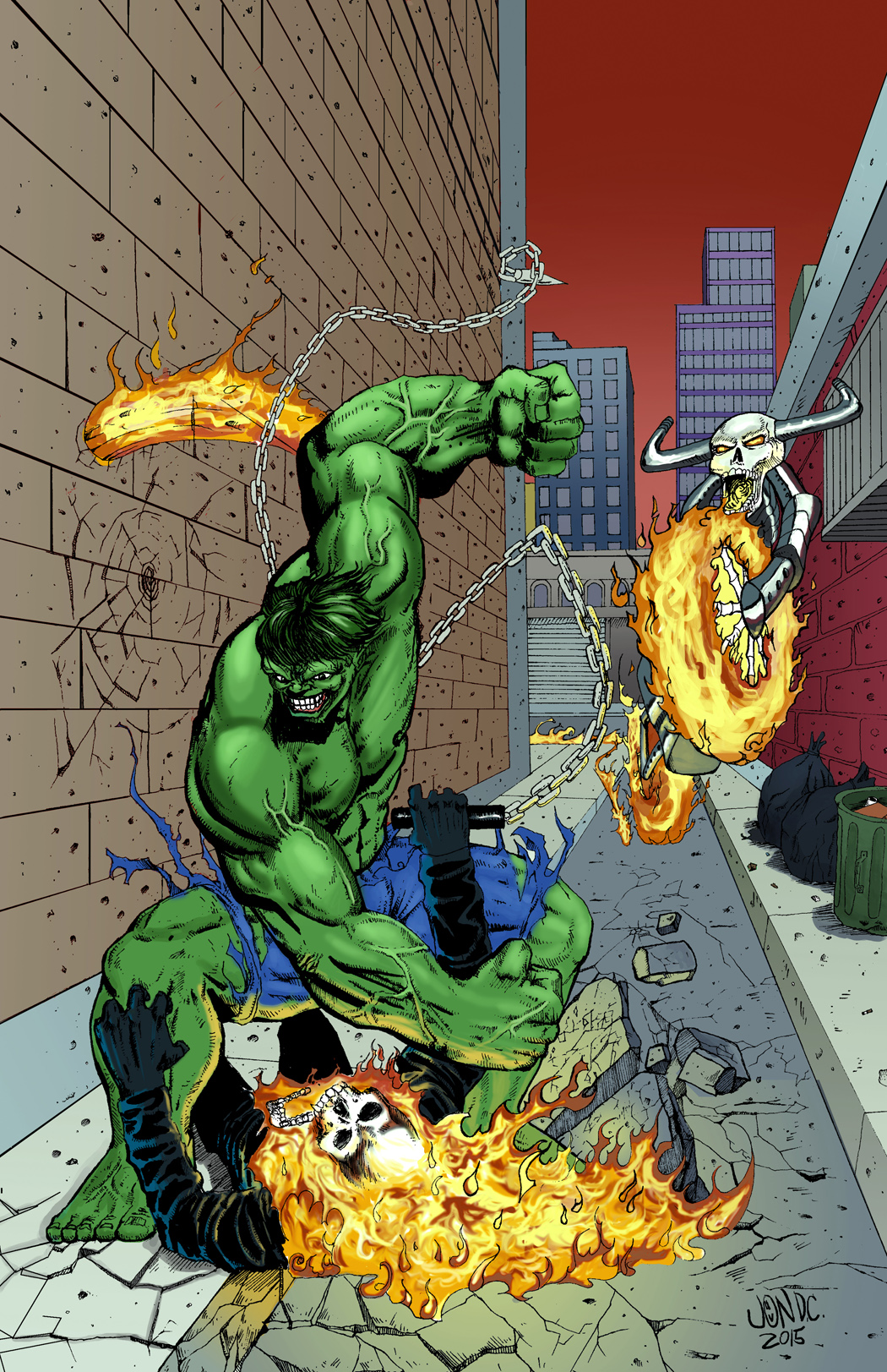 Hulk Pounding the crap out of Ghost Rider