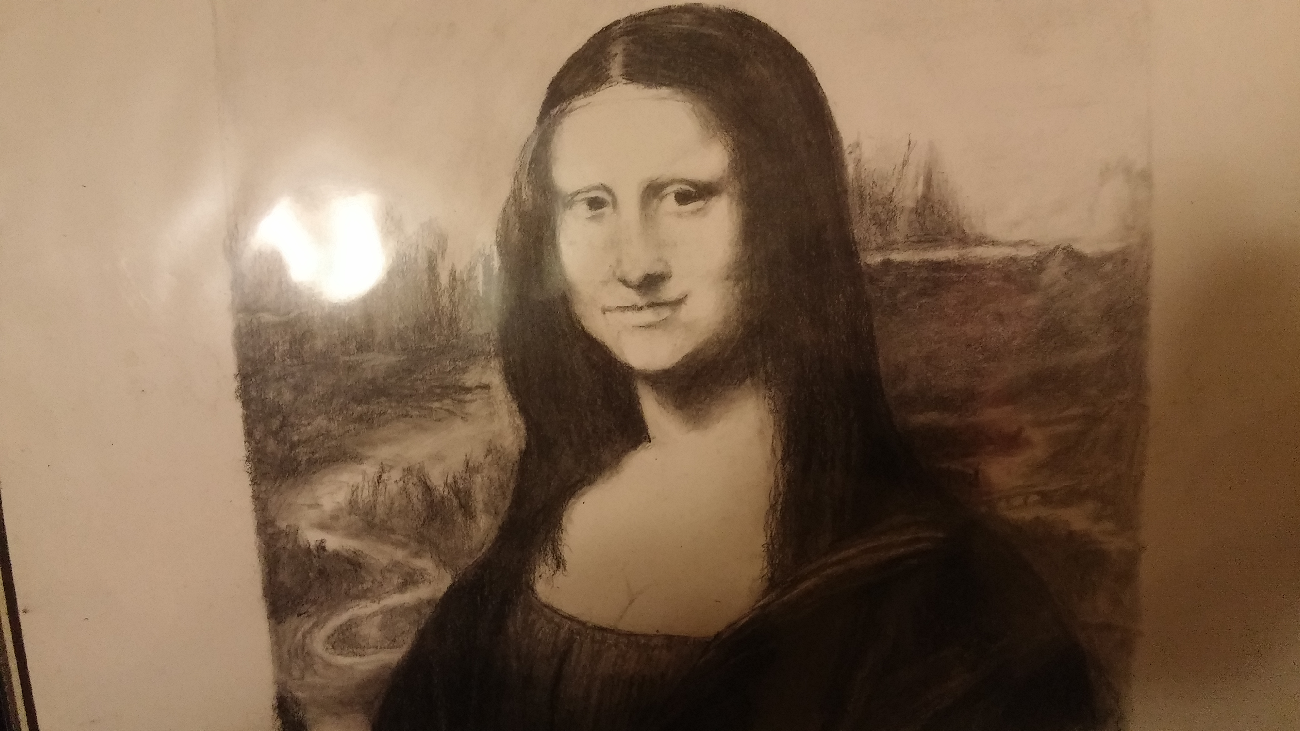 Mona Lisa in charcoal