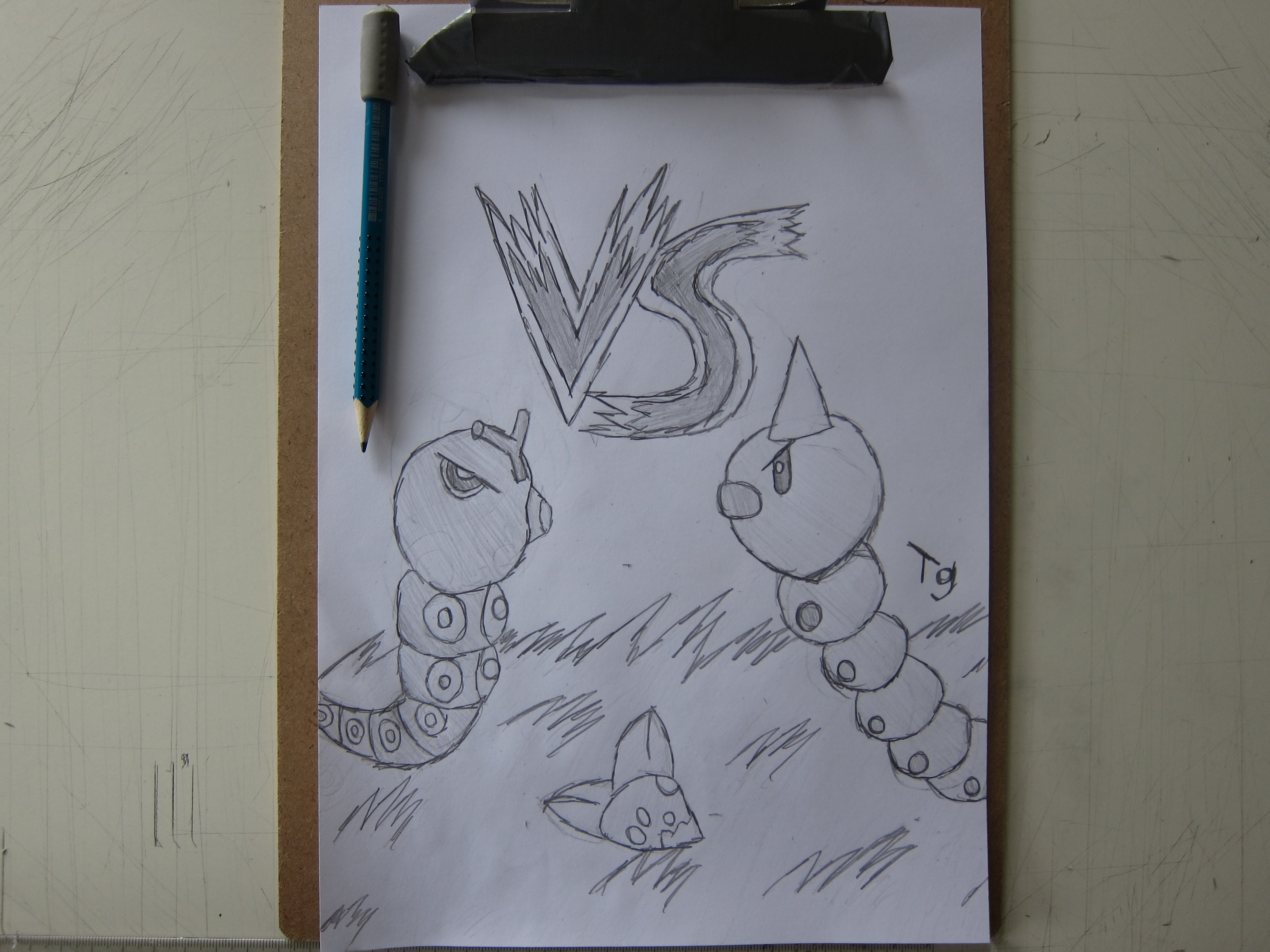 caterpie vs weedle drawing