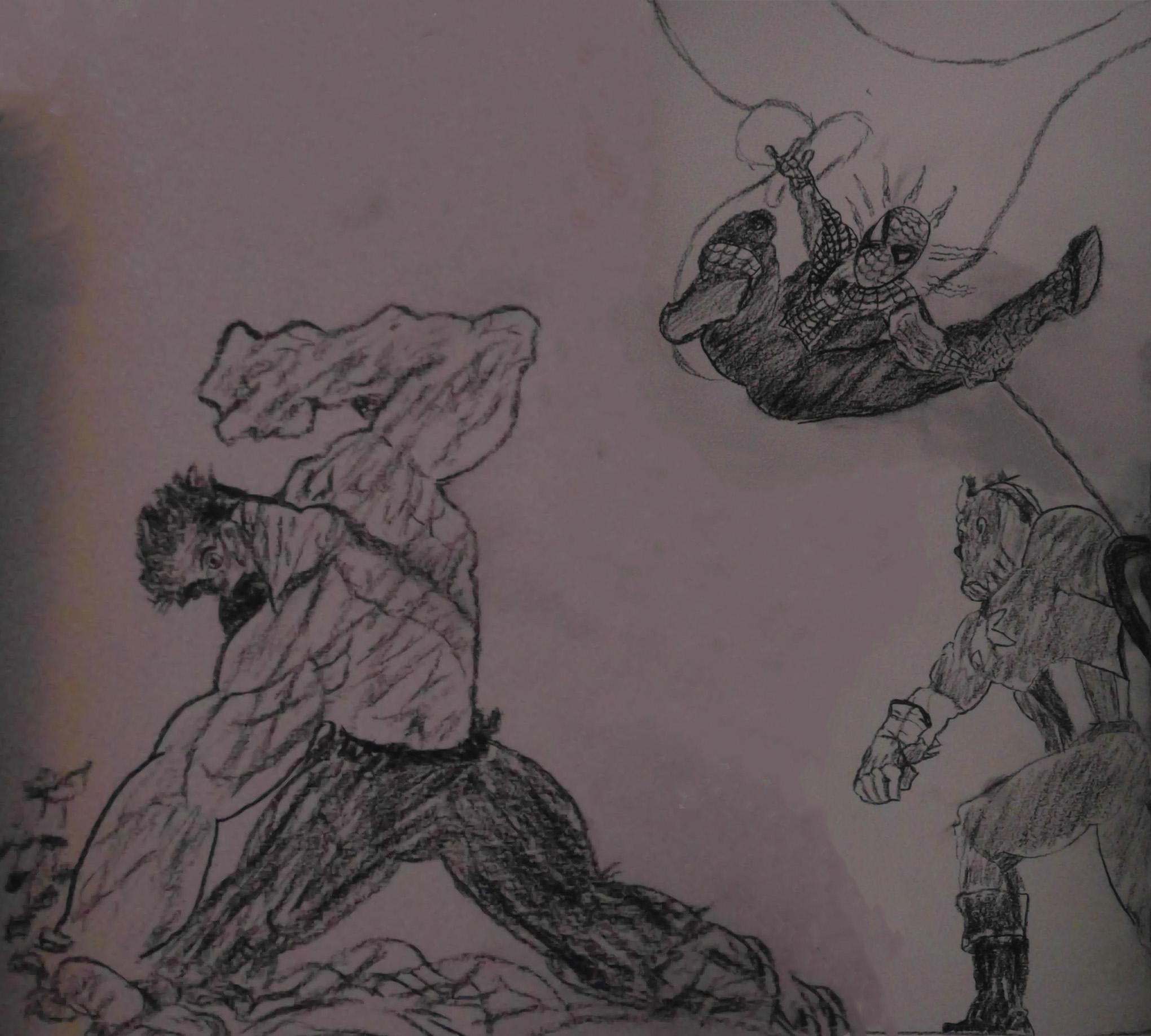 Avengers whooooooaaaaaa charcoal pencil